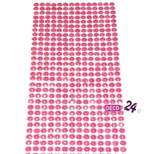 Αυτοκόλλητες Πέρλες Ροζ Διάφανες 6mm